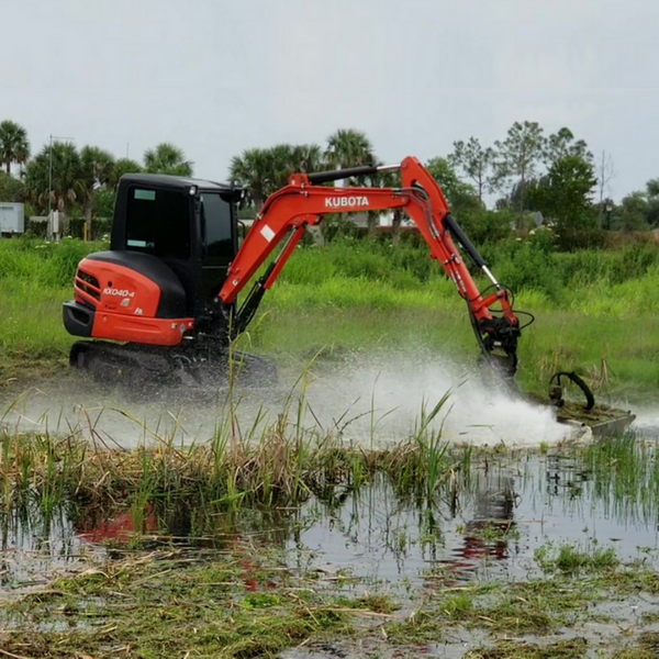 Excavator Mowing Ditches Ponds